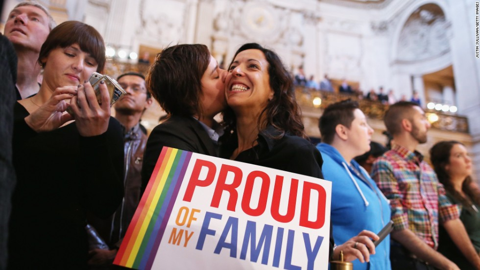 SAN FRANCISCO, CA - JUNE 26:  A couple celebrates upon hearing the U.S. Supreme Court's rulings on gay marriage in City Hall June 26, 2013 in San Francisco, United States. The high court struck down DOMA, and will rule on California's Prop 8 as well.  (Photo by Justin Sullivan/Getty Images)