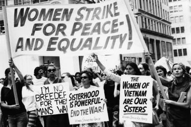 Pictured: Women Strike for Peace at the Women's Strike for Equality Demonstration in New York, 1970. Photo by Eugene Gordon/The New York Historical Society/Getty Images.