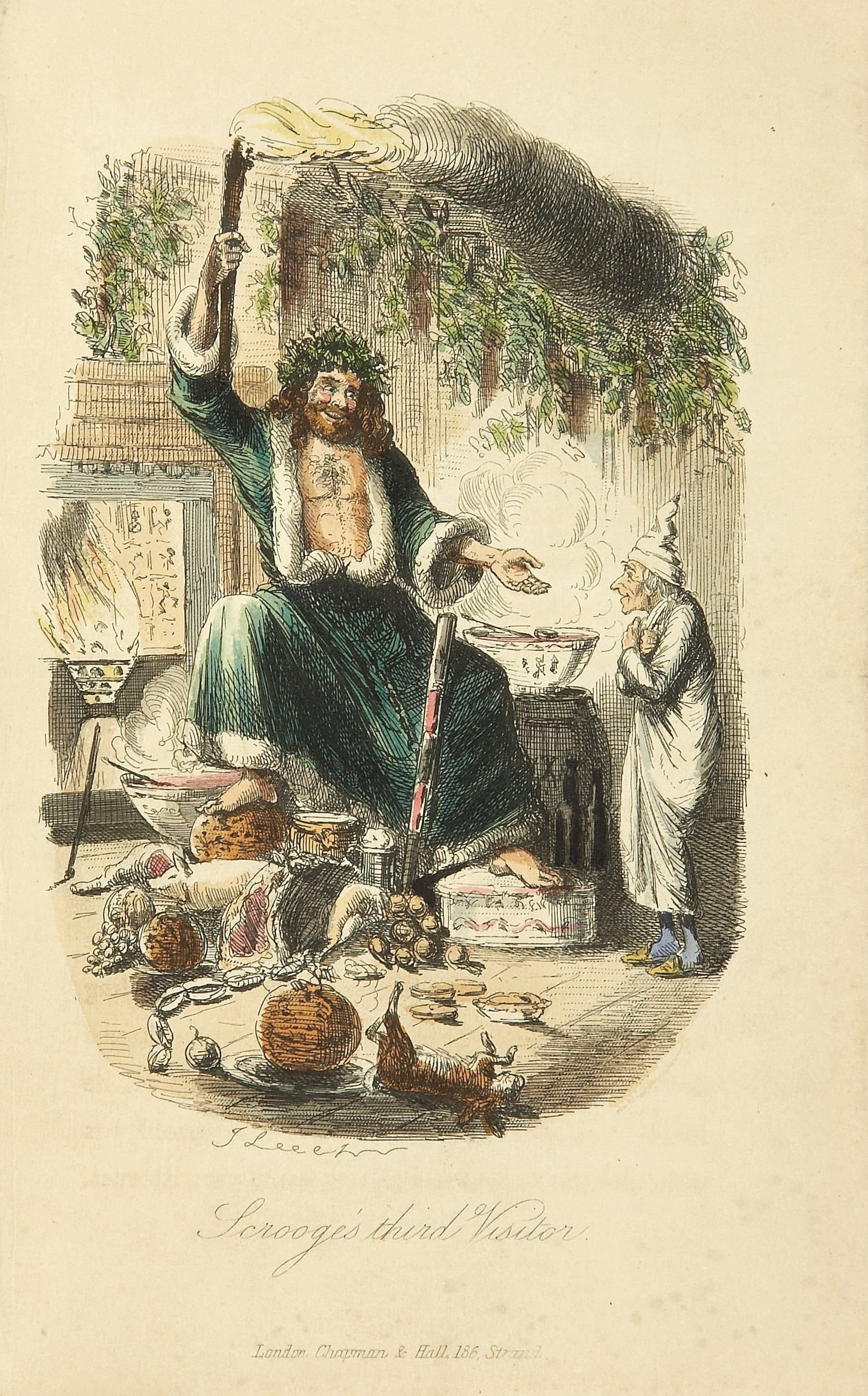 Pictured: Scrooge's third visitor, from Charles Dickens: A Christmas Carol. In Prose. Being a Ghost Story of Christmas. Illustrations by John Leech. London: Chapman & Hall, 1843. First edition. [CC BY-SA 3.0] via Wikimedia Commons.