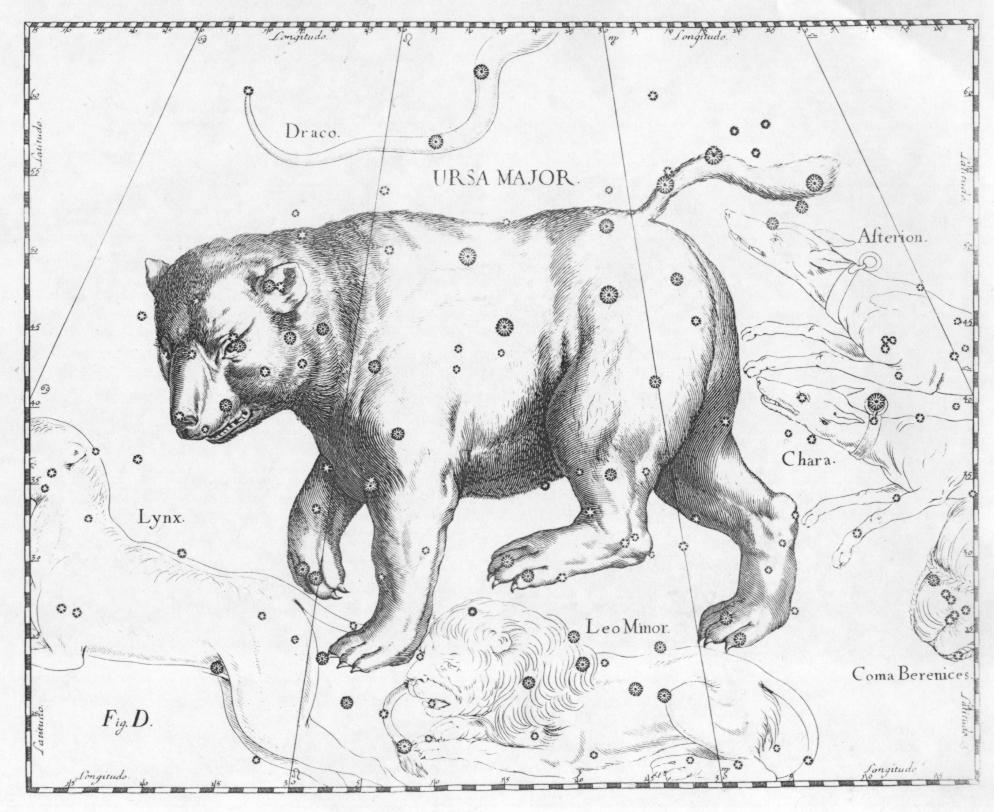 Pictured: The Ursa Major constellation from Uranographia by Johannes Hevelius. Photo by Torsten Bronger [CC BY-SA 3.0] via Wikimedia Commons.