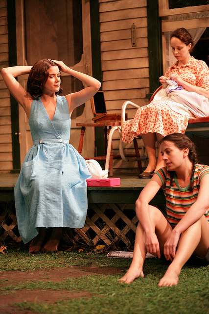 Bridgette Pechman, Natasha Lowe, and Hillary Clemens in PICNIC at Writers Theatre. Photo by Janna Giacoppo.